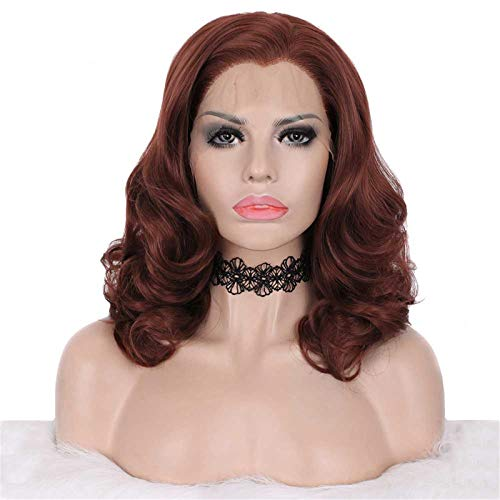 Imstyle Copper Red Wigs Short Bob Lace Front Wig Wavy Synthetic Hair Wigs for Women Shoulder Length 14 Inch with Wig Caps