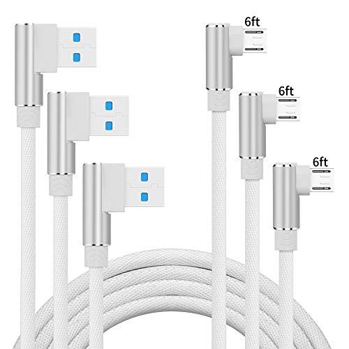 UGI Micro USB Cable Android Right Angle 3-Pack 6ft USB Cables 90 Degree High Speed USB2.0 Sync Charging Cables Compatible with Samsung, HTC, Motorola, Nokia, Kindle, MP3, Huawei, LG, Tablet and More
