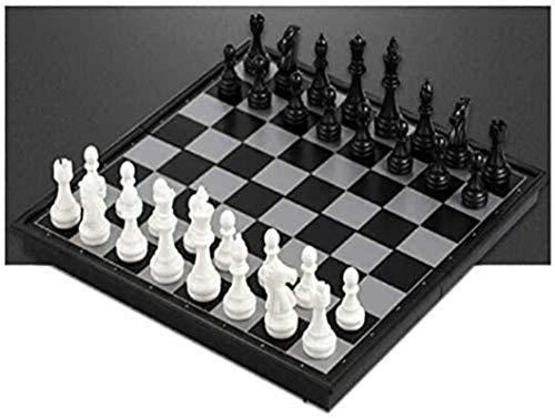 LINWEI Internationales Schach, tragbares Schwarz-Weiß-zusammenklappbares Schachspiel, Entwicklung Intelligencening/Contest Chess Schwarz tragbare Kinderspiele für Erwachsene Trave