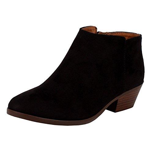 SODA Womens Western Inside Zipper Stacked Heel Ankle Booties Black Faux Suede 7