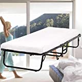 Guest Bed Folding Bed Frame with 3.9 Inch Foam Mattress Fold Up Heavy Duty Extra Portable Camping Cots with Wheels Hideaway Temporary Single Twin Size Rollaway Bed for Adults,Kids - 300LBS Capacity