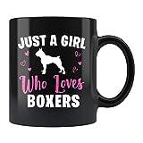 Boxer Dog Girl - Taza de desayuno para perro y niña, diseño de bóxer