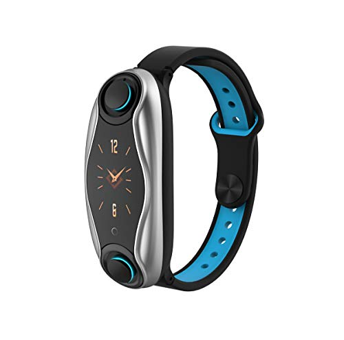 PADY-Wearable Technology T90 2 in 1 Smart Bracelet Wireless Bluetooth Headset Combo Running Music Wristband Earphone Heart Rate Blood Pressure Fitness Tracker (Silver Blue)