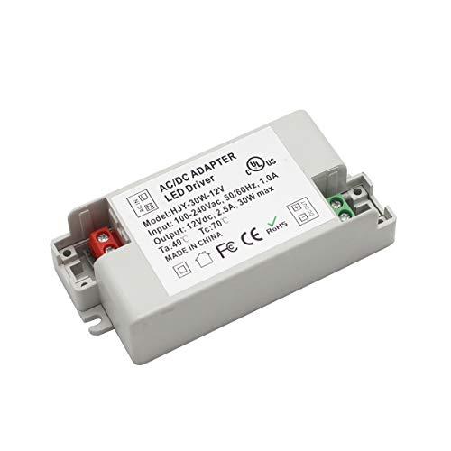 Transformador LED convertidor de fuente de alimentación AC100-240V a DC 12V para tira de iluminación LED, bombillas G4, MR11, MR16 30.00W, 12.00V