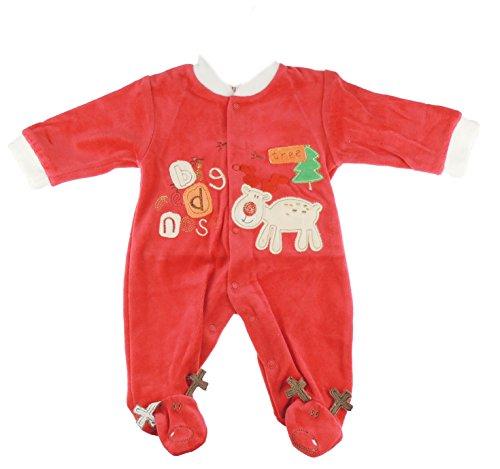 Feestelijke Kerstmis Winter Baby Meisjes Jongens Romper Sleeper Alle in Een Rode Rudolph Grote Rode Neus Rendier Outfit 0-3 Months Rood