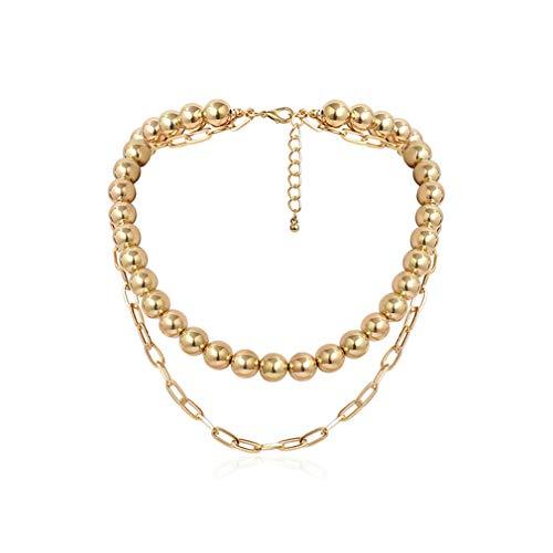 Weryffe - Collar de perlas, doble capa, estilo punk, con cadena ancha, para mujeres y niñas