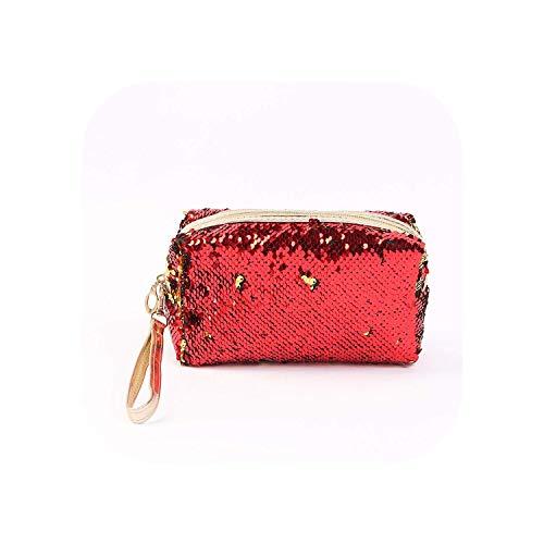 ZWWZ Cosmetic Bag New Pailletten tragbare Frauen Make-up-Tasche Mode-Mädchen-Kosmetik-Beutel-Spielraum Kosmetikerin Aufbewahrungstasche Kosmetik-Speicher-Beutel-Organisator-hot Pink- HAIKE
