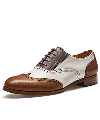 Alipasinm Women's Oxfords Lace up Wingtip Brogue Flats Saddle Dress Formal Wedding Office Shoes for Girls Ladies