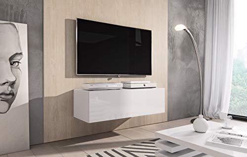 E-Com - TV-Lowboard Fernsehschrank Fernsehtisch Rocco - 100 cm - Weiß