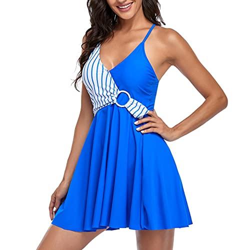 OutTop Women Swimdress Swimsuit Plus Size Two Piece Tankini Swimwear Bathing Suits Flowy Swim Dress with Boyshort (Bule-2, XXL)