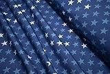 mollipolli-Stoffe Softshell Nano Sterne weiß hellblau auf