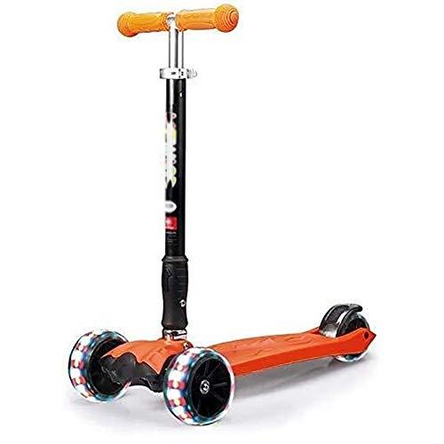 THj Scooters Kick Absorción de Golpes con Mango Ajustable, PU Flash Wheel Kick para niños/niñas de 2 a 14 años, Capacidad de 100 kg (Color: Rojo)