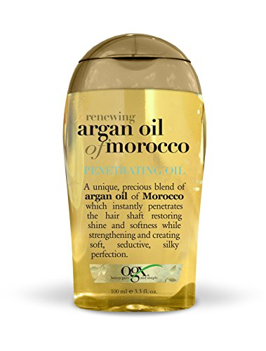OGX Renewing + Argan Oil of Morocco Penetrating Hair Oil Treatment, Moisturizing & Strengthening Silky Hair Oil for All Hair Types, Paraben-Free, Sulfated-Surfactants Free, 3.3 oz