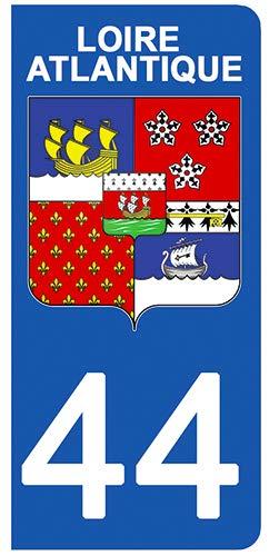 DECO-IDEES 2 Stickers pour Plaque d'immatriculation - 44 - Blason Loire Atlantique- Stickers Garanti 5 Ans