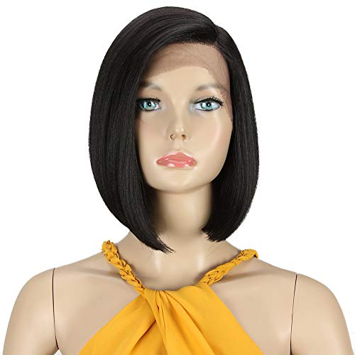 DÉBUT lace front wigs for black women Bob wigs for white women synthetic hair 9.5' 120g natural straight Swiss Lace Heat Resistant Fibers Half Hand Tied (9.5 inches, BLACK)