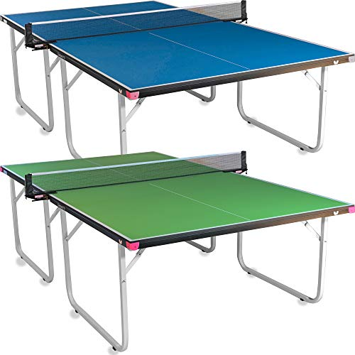 Butterfly Compact 19 Ping Pong Table - Foldable Table Tennis Table with Wheels - Regulation Size Ping Pong Table with Detachable Net Included - Ships Assembled