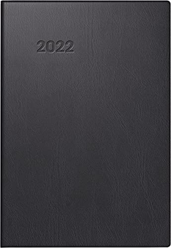 BRUNNEN 1072311902 Taschenkalender Modell 723, 2 Seiten = 1 Woche, 7,6 x 11,2 cm, Kunststoff-Einband schwarz, Kalendarium 2022