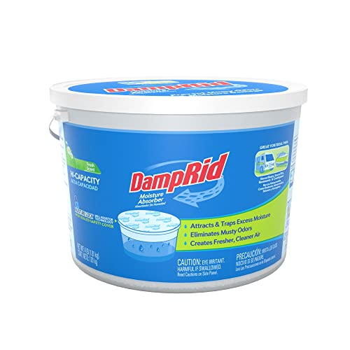 DampRid Moisture Absorber 4 lb. Hi-Capacity Bucket - for Fresher, Cleaner Air in Large Spaces, Fresh Scent, 128 oz (Pack of 1)