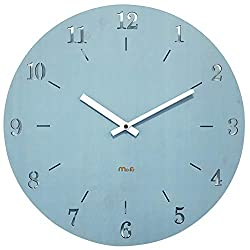 YB&GQ Simple Modern Wall Clock,Hollow Decorative Wall Clock Arabic Numbers,Silent Wood Wall Clock for Office Home Bedroom-Blue 38x38cm(15x15inch)