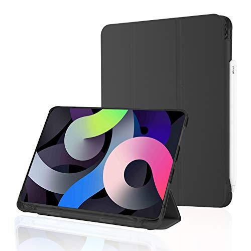 Funda para iPad Air 4 10.9 2020 con Portalápices, Funda Inteligente De Cuero con Diseño De Lichee, Parte Trasera De TPU Suave, Reposo/Activación Automático [admite Carga De Lápiz De Apple],Black