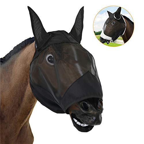 Asudaro Horse Fly Face Cover avec Oreilles, Long Nose Fly Cover Soft Lightweight Respirant Mesh Horse Face Protect for Prevent Mosquito and Insects