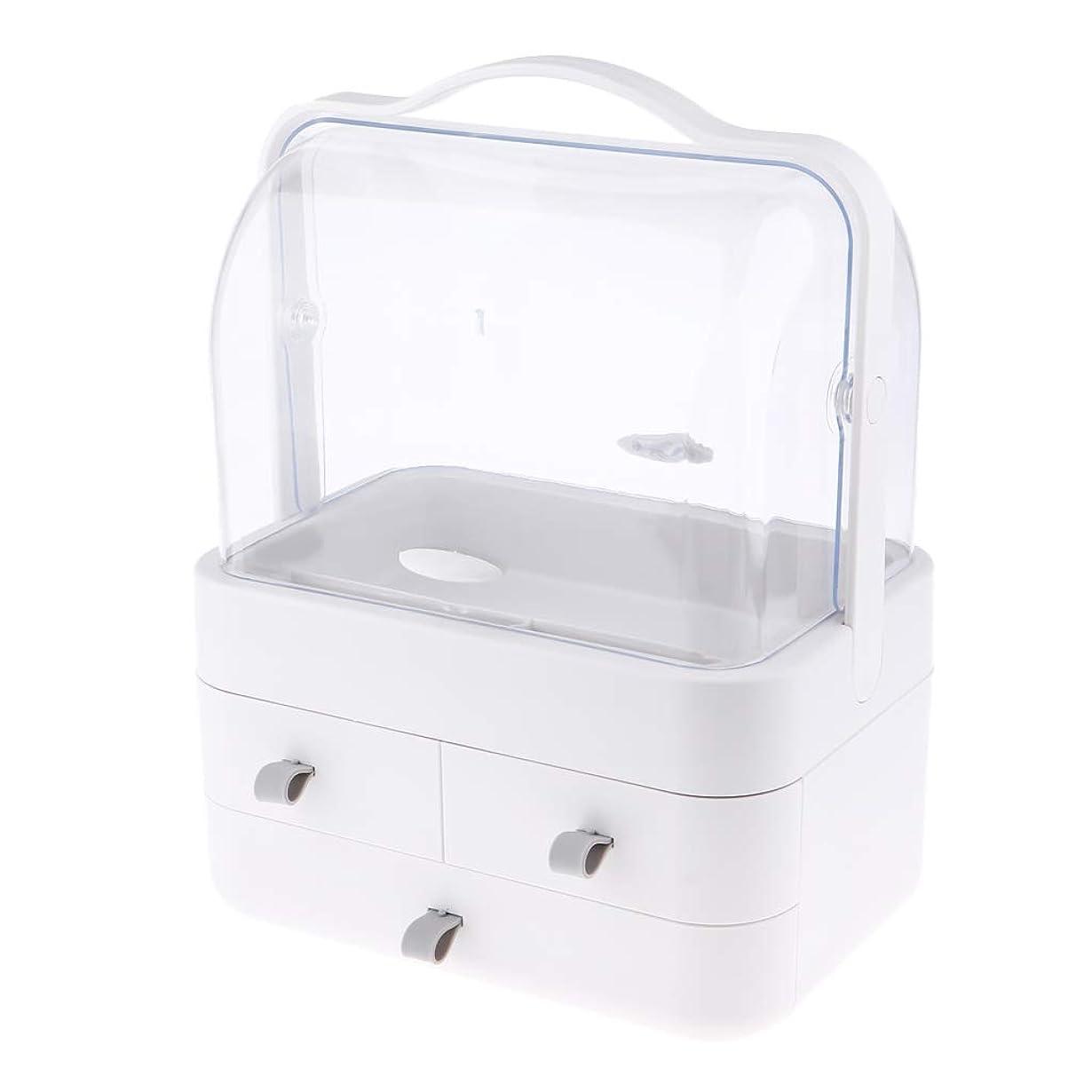 Perfeclan 180度回転 化粧品収納ボックス メイクケース 防水 大容量 3層 引き出し式 卓上収納 全2色 - グレーのひも