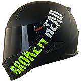 Broken Head BeProud Matt-Schwarz & Grün - Motorradhelm Mit Schwarzem Zusatz-Visier - Größe M...