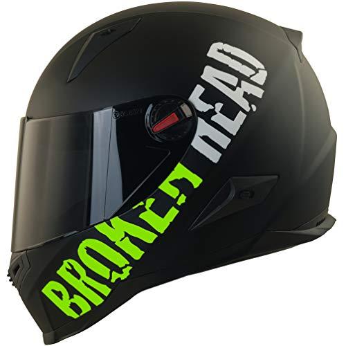 Broken Head BeProud Matt-Schwarz & Grün - Motorradhelm Mit Schwarzem Zusatz-Visier - Größe S (55-56 cm)