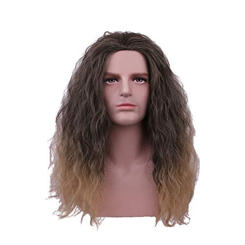 Yilys Men's Short Curly Black Ombre Golden Gradient Wigs Halloween Movie Cospaly Costume Wigs