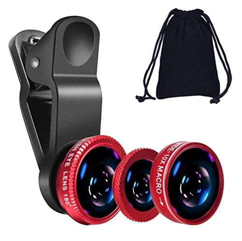 Lowfe 3in1 Mobile Camera Photo Lens; Fisheye Lens; Wide Angle; Macro Lens with Clip Holder for All Smartphones (Multicolor)