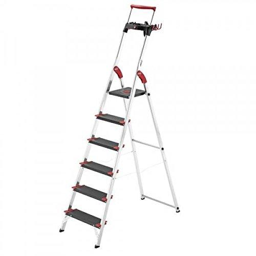 Hailo 0005261 veiligheidsladder model XXR, van aluminium, extra diepe treden, maximale draagkracht tot 225 kg, versie met 5 treden