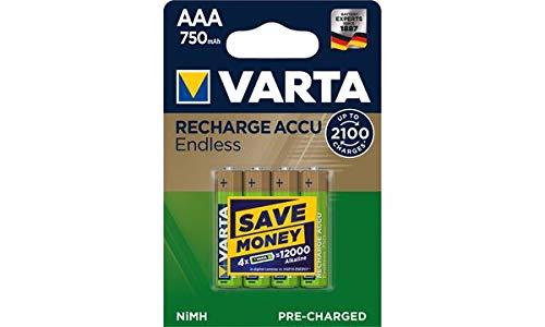 VARTA NiMH Akku ´RECHARGE ACCU Endless´, Micro AAA, 750 mAh, Sie erhalten 1 Packung, Packungsinhalt: 4 Stück