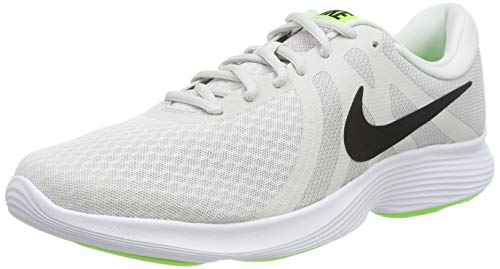 Nike Revolution 4 EU, Zapatillas de Running Hombre, Platinum Tint/Black-Electric Green-Atmosphere Grey-White, 41