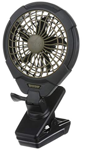 Treva 5 Inch Battery Powered Clip on Fan, 2 Pack, Khaki