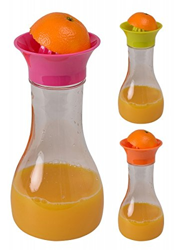 Karaffe mit Zitruspresse und Deckel - Entsafter - Saftpresse - Orangenpresse - Zitronenpresse - Wasserkaraffe - Kanne, Farbe:Pink