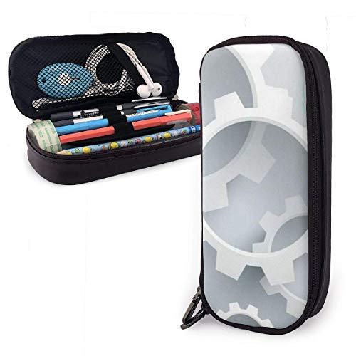 huatongxin Many White Gears Hombres y mujeres disponibles Estuche para lápices portátil de gran capacidad Moda Micro Fibra Cuero de PU Bolsa de papelería para estudiantes y portalápices con cr