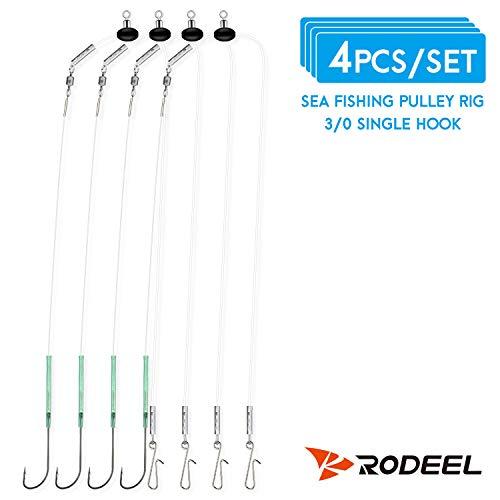 Rodeel 4 PCS Aparejos de Pesca de mar Flapper Polea Rig Single Hook Clipped (4 PCS Single Pulley Rigs)