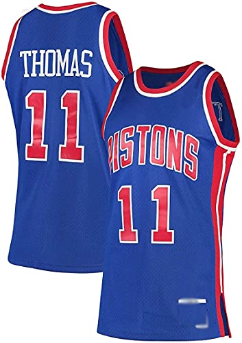 POLIAB Men's Isiah Detroit Basketball Breathable Thomas Pistons Jersey Quick-Drying Sports #11 Blue T-Shirts