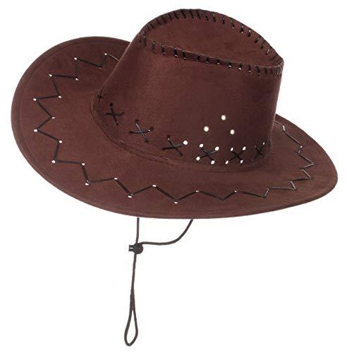 Brandsseller Karneval Kopfbeckung/Hut/Mütze Kostüm/Fasching/ - [ Motive: Cowboy] Damen Kopfschmuck Westernhut (Dunkelbraun)