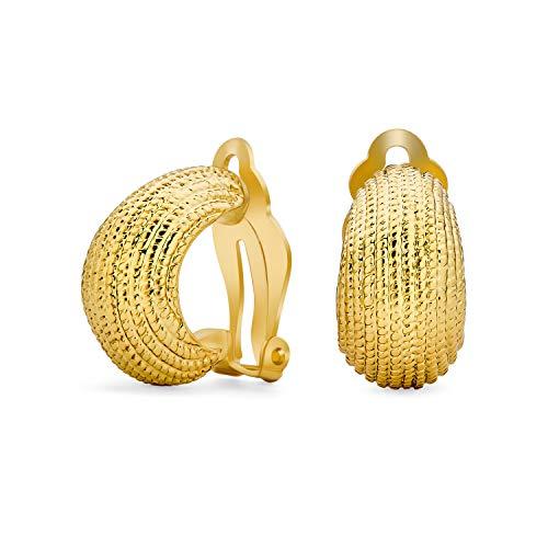 Acanalado cable cuerda raya ancha media aro cúpula de camarones estilo clip en pendientes para las mujeres no perforadas orejas oro tono plateado
