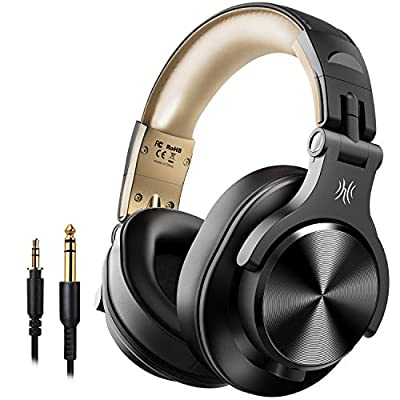 OneOdio Bluetooth Headphones Over Ear, Closed Hi-Fi Studio Headphones with Share Port, Foldable Wired & Wireless Professional DJ Headphones for E-drum Piano Guitar AMP Recording and Monitoring by Wanzhao Audio