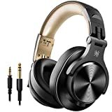 OneOdio Bluetooth Headphones Over Ear, Closed Hi-Fi Studio Headphones with Share Port, Foldable Wired & Wireless Professional DJ Headphones for E-drum Piano Guitar AMP Recording and Monitoring
