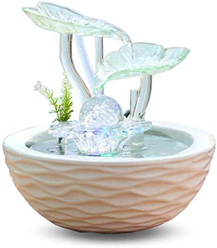A-Generic 3 Tiered Waterfalls with LED Portable Water Feature Fountain for Living Room Office Garden-23.5x23.5x25cm_Style_#4