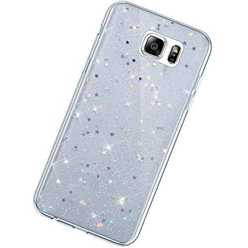 Funda Compatible con Samsung Galaxy Note 5.KunyFond TPU Silicona Lentejuela Brillo Brillante Suave Carcasa Estrella Purpurina Glitter Cover Moda Lindo Ultra Slim Anti-caída Bumper Case,Transparente#1