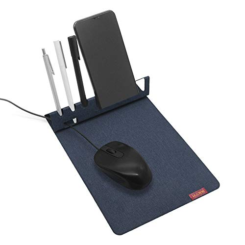 SenseAGE Multi-Functional Mouse Pad, 3-in-1 Ultra Smooth Mouse Pad with Non-Slip Base, Portable Slim Mouse Mat, Phone & Pen Holder, Cord Organizer for Home & Office, Navy Blue