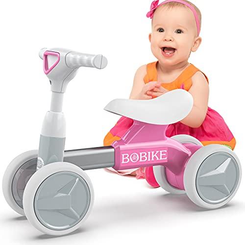Bicicletta Senza Pedali per Bambini Bici Equilibrio per Bambini Triciclo Bambini 1-2 anni Tricicli Neonati Corridori Giocattoli Regali per Bambini, Rosa