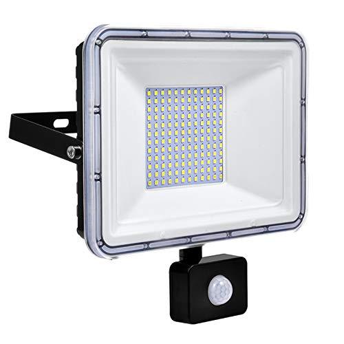 50W Faretto LED da Esterno con Sensore di Movimento IP67 Impermeabile Faro LED 4500LM 6500K Bianca Fredda per Giardino Garage Parcheggio Corridoio [Classe di efficienza energetica A++]