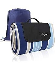 Wrei Picknickfilt, 200 x 200 cm picknickfilt vattentät baksida, utomhus picknick filt matta vikbar för camping, strand, park, lekplats, utomhus, pool (blå)