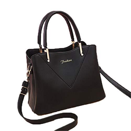 Elegante casual vrouwelijk tasje gloeiplaat haard handtassen vrouwen curier schoudertas handtas handtas, zwart (zwart) - 5023652893917