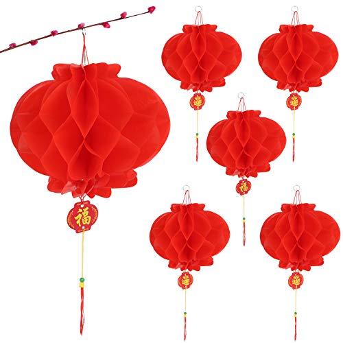 BHGT 24cm x 10 Stück Chinesische Laternen Lampions Rot Hängende Laternen Rot Faltbare wasserdichte Rote Papierlaternen Papierlampen für Chinesisches Neujahrsfest Frühlingsfest Party Feier Dekoration
